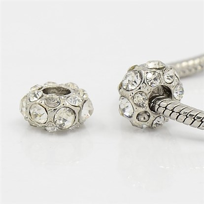 Alloy Rhinestone European Beads, Large Hole Beads, Rondelle, 11x6.5mm, Hole: 4mm-1