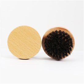 Natural Beech Beard Brush, with Black Boar Bristles, Men Beards Mustaches Care, Round