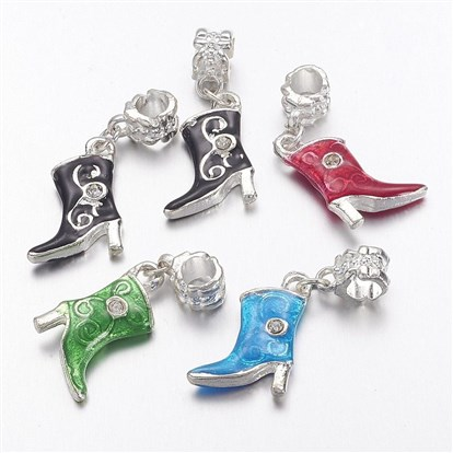 Alloy European Dangle Beads, High-heeled shoes, 14x33x3mm, Hole: 4.5mm-1