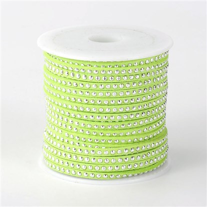 Faux Suede Cord with Aluminum Cabochons, 3x2mm; about 20yards/roll-1