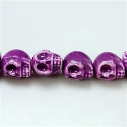 Purple Handmade Porcelain Beads Strands, Bright Glazed Style, Skull, Halloween, Purple, about 15mm wide, 18mm long, 18mm thick, Hole: 1.5mm