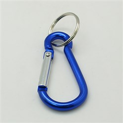 Blue Aluminum Oval Carabiner Keychain, with Iron Clasps, Blue, 60.5x29mm
