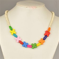 Beige Colorful Wood Necklaces for Kids, Children's Day Gifts, Stretchy, Beige, 18 inches