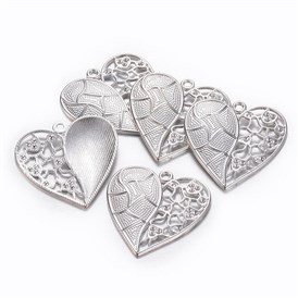 Tibetan Silver Pendants, Lead Free and Cadmium Free,Heart, about 47mm long, 46mm wide, 5mm thick, hole: 3mm.