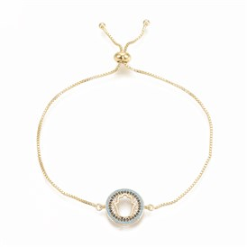 Adjustable Brass Micro Pave Cubic Zirconia Bolo Bracelets, Slider Bracelets, with Brass Box Chains, Flat Round with Hamsa Hand