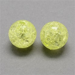ChampagneYellow Transparent Crackle Acrylic Beads, Round, ChampagneYellow, 8mm, Hole: 2mm; about 1890pcs/500g