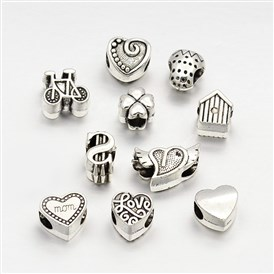 Tibetan Style Alloy Large Hole European Beads, Mixed Shape, 10~11x7.5~17x7~8mm, Hole: 5mm; about 35~40pcs/100g