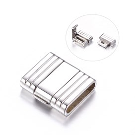 304 Stainless Steel Clasps, Rectangle, 19x18x5mm, Hole: 15x3mm