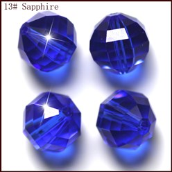 Blue Imitation Austrian Crystal Beads, Grade AAA, Faceted, Round, Blue, 10mm, Hole: 0.9~1mm