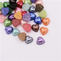 Mixed Color Acrylic Imitation Pearl Cabochons, Dyed, Heart, Mixed Color, 10.5x10.5x5mm; about 1500pcs/bag