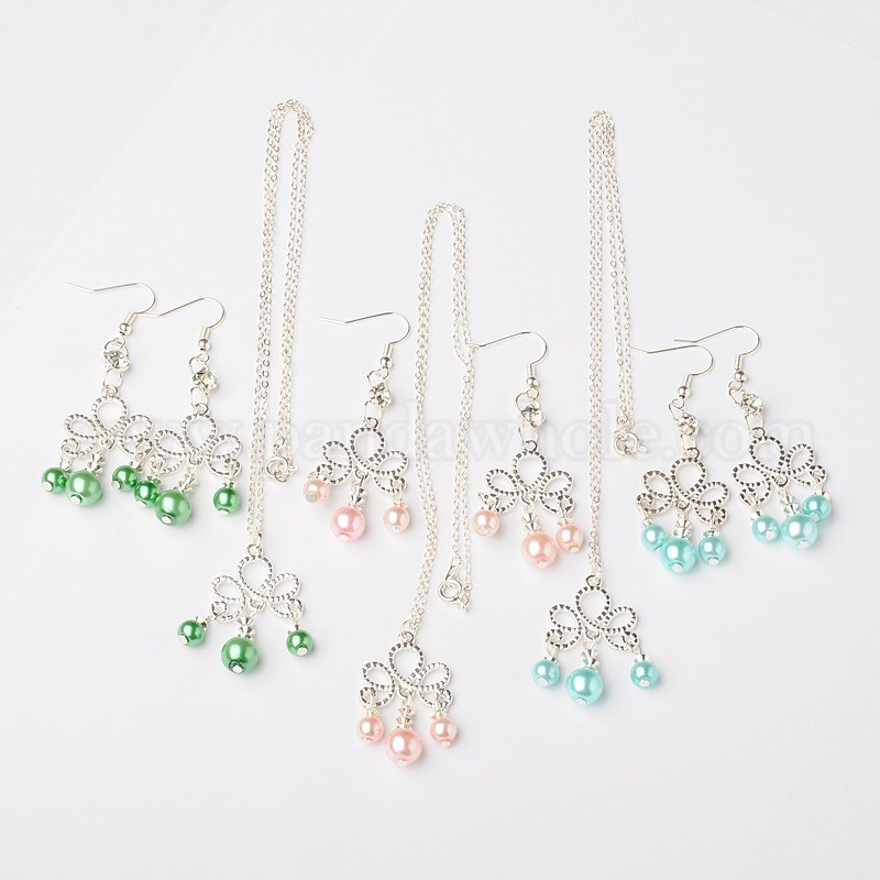 b7faf47a1 Glass Pearl Round Beads Jewelry Sets: Earrings & Necklaces, with Brass  Crystal Round Beads, Alloy Flower Links and Brass Jewelry Findings, Silver,  61mm, ...