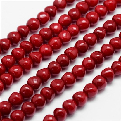 "Spray Painted Glass Beads Strands, Imitation Coral, Drop, with Cotton Thread, 7x6mm, Hole: 1mm; about 64pcs/strand, 15.7""-1"
