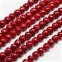 Spray Painted Glass Beads Strands, Imitation Coral, Drop, with Cotton Thread, 7x6mm, Hole: 1mm; about 64pcs/strand, 15.7""