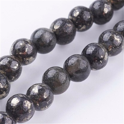 Natural Pyrite Beads Strands, Round-1