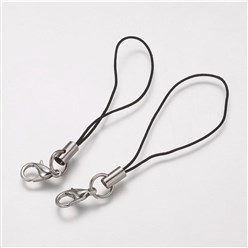 Platinum Cord Loop, with Alloy Lobster Claw Clasps, Iron Ring and Nylon Cord, Platinum, 70x0.8mm