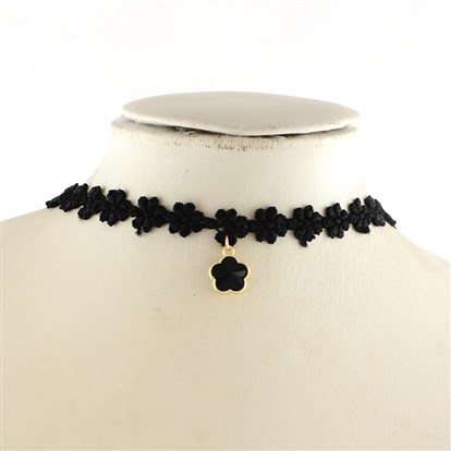 "Gothic Style Vintage Lace Choker Necklaces with Flower Glass Pendants, 12.7""-1"