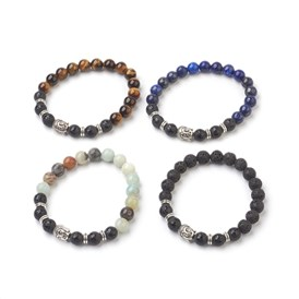 Natural Gemstone Beads Stretch Bracelets, with Alloy Findings and Natural Frosted Agate Beads, Om Mani Padme Hum, Round and Buddha Head, Burlap Packing, Burlap Packing