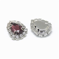Burgundy Sew on Rhinestone, Glass Rhinestone, with Platinum Tone Brass Prong Settings, Garments Accessories, Drop, Burgundy, 14.5x11x5mm, Hole: 0.8mm