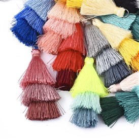 Polyester Tassel Big Pendant Decorations, with Iron Findings, Platinum