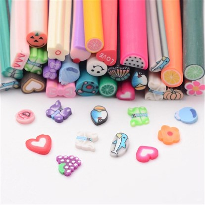 Polymer Clay Nail Art Decoration, Fashion Nail Care, No Hole Tubes, Mixed Shape, Mixed Color, 50 Kinds of Styles, 50x4~6mm-1