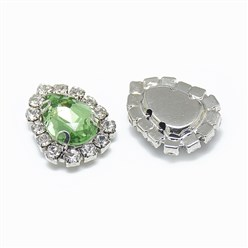 Peridot Sew on Rhinestone, Glass Rhinestone, with Platinum Tone Brass Prong Settings, Garments Accessories, Drop, Peridot, 14.5x11x5mm, Hole: 0.8mm