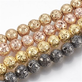 Electroplated Natural Lava Beads Strands, Round, Bumpy