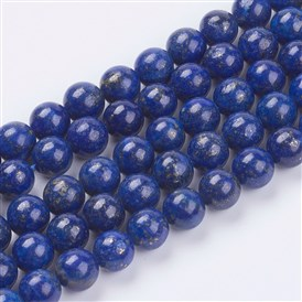 Natural Lapis Lazuli(Filled Color Glue) Beads Strands, Grade AA, Round