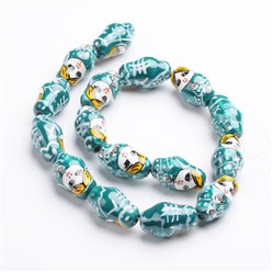 10pcs 22x13mm Big Porcelain Ceramic Painted Russian Doll Loose Spacer Beads