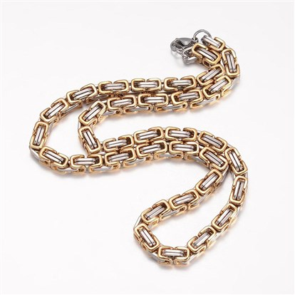 304 Stainless Steel Byzantine Chain Necklaces, with Lobster Claw Clasps-1