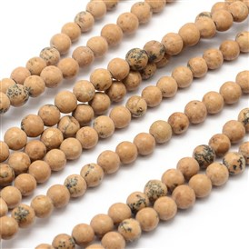 Natural Picture Jasper Round Bead Strands, 4mm, Hole: 0.5mm; about 127pcs/strand, 15.7""