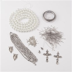 White DIY Jewelry Material Packages, Including Tibetan Style Alloy Pendants, Glass Pearl Beads, Stainless Steel Findings, Chain and Tiger Tail, White, 8x1mm