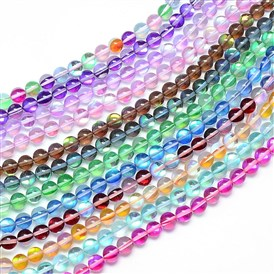 Synthetic Moonstone Beads Strands, Holographic Beads, Dyed, Round