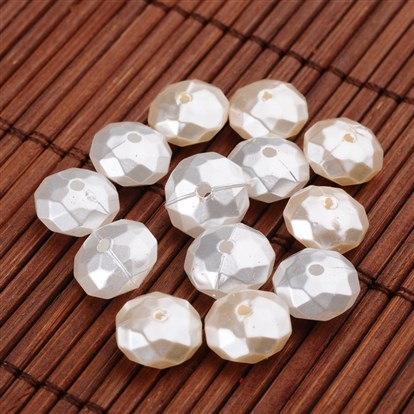 Imitation Pearl Acrylic Beads, Faceted, Flat Round-1