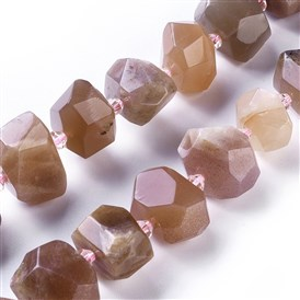 Natural Sunstone Beads Strands, Faceted, Nuggets