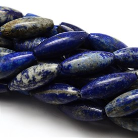 Natural Gemstone Lapis Lazuli Rice  Beads Strands, 26x12mm, Hole: 1mm; about 15pcs/strand, 15.75