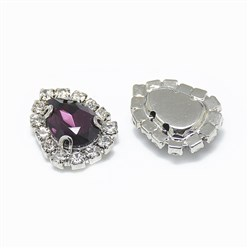 Amethyst Sew on Rhinestone, Glass Rhinestone, with Platinum Tone Brass Prong Settings, Garments Accessories, Drop, Amethyst, 14.5x11x5mm, Hole: 0.8mm