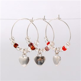 Tibetan Style Heart Wine Glass Charms, with Glass Seed Beads and Brass Hoop Earrings, Antique Silver, 39mm; Pin: 0.7mm