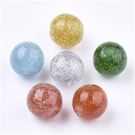 Resin Beads, with Glitter Powder, Round