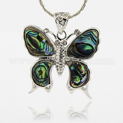 Wholesale abalonepaua shell pendants with brass pendant settings abalonepaua shell pendants with brass pendant settings butterfly 28x32x45mm aloadofball Image collections