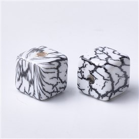 Printed Acrylic Beads, Cube