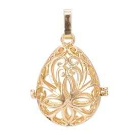 Rack Plating Brass Cage Pendants, For Chime Ball Pendant Necklaces Making, Hollow Drop with Flower