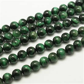 Natural Tiger Eye Beads Strands, Round, Dyed & Heated, MediumSeaGreen