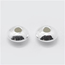 Silver Sterling Silver Corrugated Spacer Beads, Disc, Silver, 5x2.5mm, Hole: 1mm; about 83pcs/5g