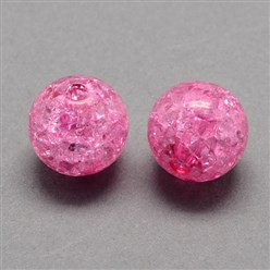 HotPink Transparent Crackle Acrylic Beads, Round, HotPink, 8mm, Hole: 2mm; about 1890pcs/500g