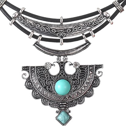 Imitation Leather Choker Necklaces, with Alloy, Resin and Rhinestone-1
