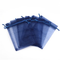 Midnight Blue Organza Gift Bags with Drawstring, Jewelry Pouches, Wedding Party Christmas Favor Gift Bags, Midnight Blue, 10x8cm