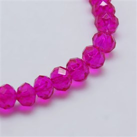 Transparent Glass Bead Strands, Faceted, Rondelle