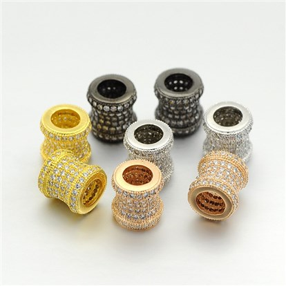 Brass Micro Pave Cubic Zirconia Large Hole European Beads, Column, Cadmium Free & Lead Free, 9x9mm, Hole: 5mm-1