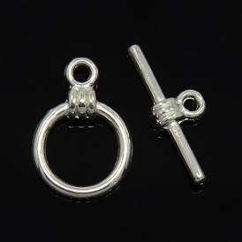 Tibetan Style Toggle Clasps, Lead Free and Cadmium Free, Ring: about 11mm wide, 15mm long, Bar: 6mm wide, 17mm long, hole: 2mm; about 1173pcs/1000g