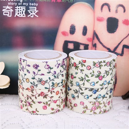 Single Face Flower Printed Cotton Ribbon, with Adhesive Tape on the Other Side, 10rolls/group-1